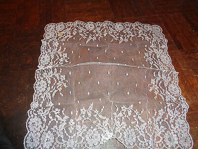 Beautiful Old Handkerchief from France Lace VTG