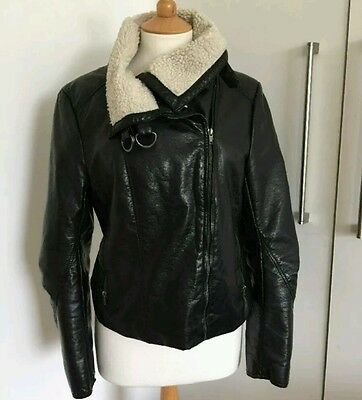 H&M Faux Leather Biker Jacket With Shearling Collar SIZE 8 NEW