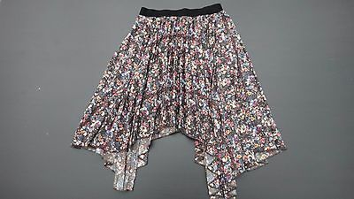 Girls Next Brown & Pink Floral Pleated Asmymetrical Skirt Age 9 Years