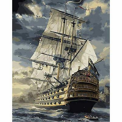 Wood Framed 50x40cm DIY Paint By Number Kit Canvas Sailing Boat Ship Home Decor