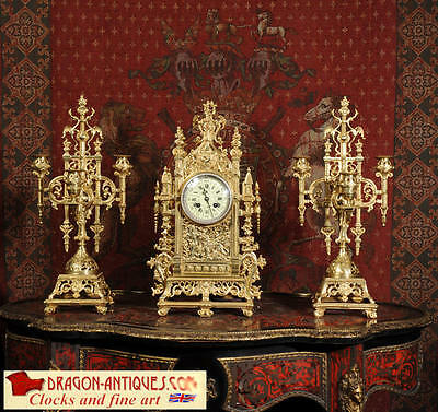 Japy Freres Original Large Antique French Gilt Bronze Gothic Clock Set C1880