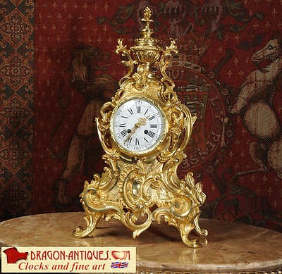 Large Antique French Rococo Gilt Bronze Clock By Vincenti Fully Overhauled 1870
