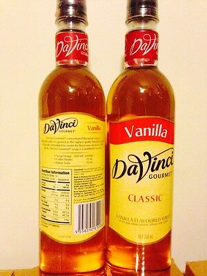 Two Vanilla Coffee Flavouring Syrup Davinci Gourmet 750ml Bottles Cafe Gift