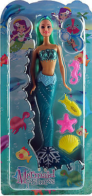 Pretty 28cm Aqua Mermaid Doll Toy - Play With In Bath!