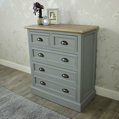 Grey 5 drawer chest of drawers shabby vintage chic bedroom furniture storage