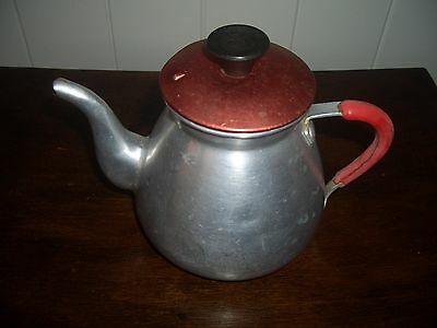 VINTAGE 1950's ALUMINIUM COFFEE/ TEA POT WITH INFUSER and RED LID