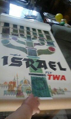 Original Poster Fly TWA Israel signed David Klein #4-1081 Very Rare
