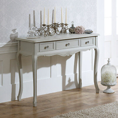 Grey wooden ornate console dressing table shabby french chic bedroom furniture