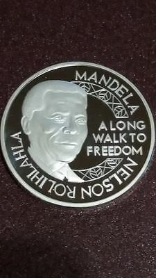 NELSON MANDELA 1oz SILVER 999 PLATED LAYERED 100 MILS ROBBEN ISLAND COIN