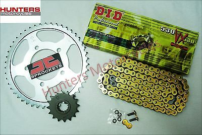 Yamaha R1 (2006 to 2008) DID Heavy Duty Gold X-Ring Chain & JT Sprockets Kit Set