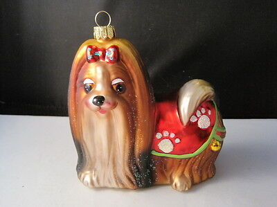 Yorkshire Terrier Yorkie Glass Christmas Ornament