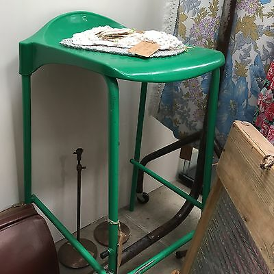 Vintage Retro Green Industrial Stackable Stool