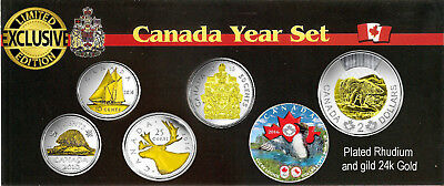 Premiere! 2016 Canadian Year Set Plated Rhodium with Selective Gold 24k Last Set