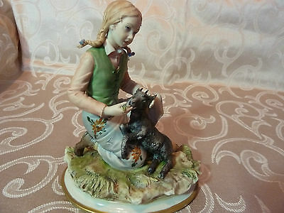 Capodimonte  figurine of a Girl with a goat