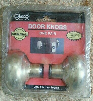 Vintage NOS Solid Brass Door Set Doorknob Knob Original Package  #2