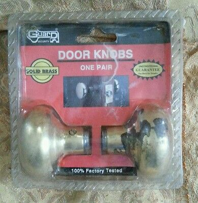 Vintage NOS Solid Brass Door Set Doorknob Knob Original Package  #3