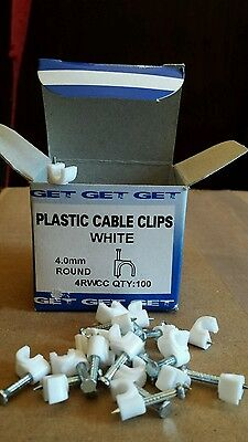 White Plastic 4mm Round Electrical Wire Cable Clips - 10 boxes of 100 (BNIB)