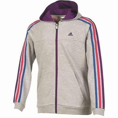 Adidas Girls Grey Purple Casual FL Junior Sports Hoodie [F49932] Size 4-5Y