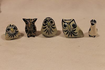LOT OF 5 HANDPAINTED CERAMIC OWL FIGURINE Made in Mexico Pottery Bird Decor
