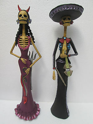 """SET OF 2 CATRINAS day of the dead mexican hand made    devil & mariachi lot 16"""""""