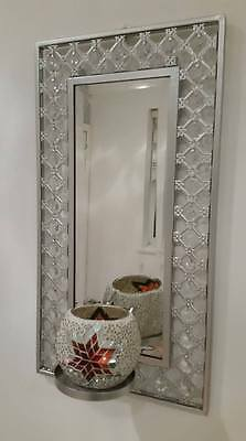 Turkish / Moroccan Style Beaded Small Mirror With Unique Mosaic Candle Holder