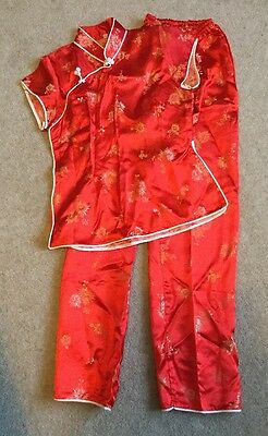 Vintage 1970s Red And Gold Chinese Pyjamas Age 13 Size 6