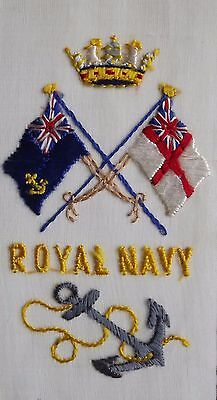 WW1  silk embroidered postcard Anchor  flags The Royal navy