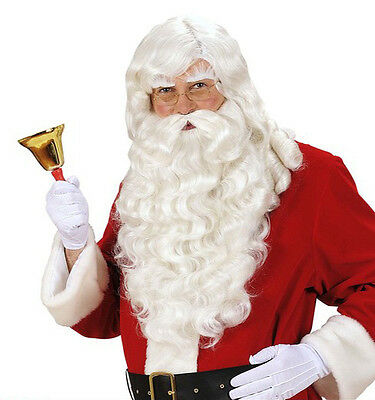 Super Deluxe White Santa Claus Wig Beard Professional Father Christmas Luxury