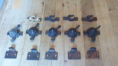 Lot Of 14 Pcs Eastlake Window Sash Hardware