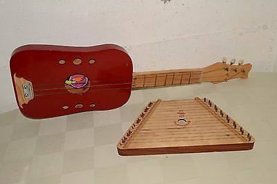 Cigar Box Guitar- Homemade Instrument 3-String, & Russian Zither Lap Harp LOT