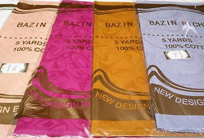 Bazin Riche Brocade African Garment Fabric High Soft Quality 5 Yards 100% Cotton