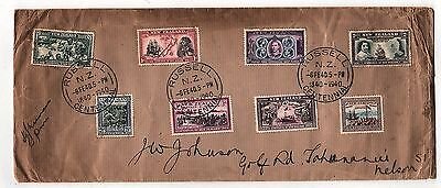 1940 New Zealand Mail Cover with 8 Stamps