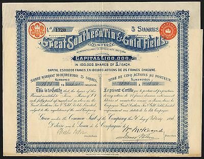 Victoria: Great Southern Tin & Gold Fields Ltd., 5 shares of £1, 1896