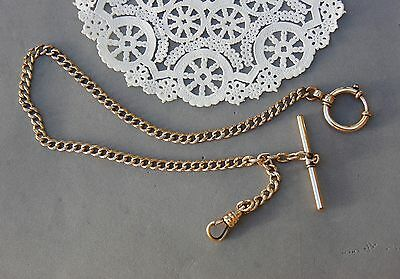"Gold Fill Pocket Watch Chain 15"" w/ Bar, Jumbo Spring Ring, Large Swivel Vintage"
