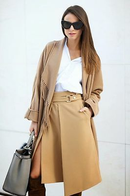 Zara Camel Beige Double Buckle Midi Skirt Sold Out