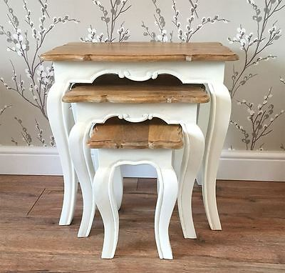 French solid wood nest of 3 tables painted ivory/cream