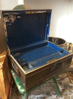 Mid 19th Century Tin Campaign Writing Painting Box Military Hobbs & Co Lock