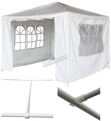 New 3m x 3m White Waterproof Outdoor Garden Gazebo Party Tent Marquee Canopy