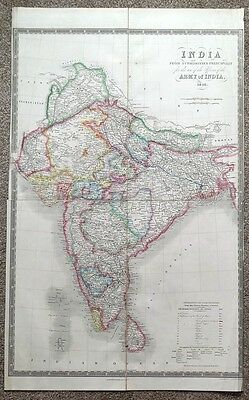 INDIA, ARMY MAP, Dower, Teesdale original antique map 1848