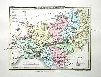 CAERMARTHENSHIRE,WALES   Roper British Atlas Antique County Map 1809