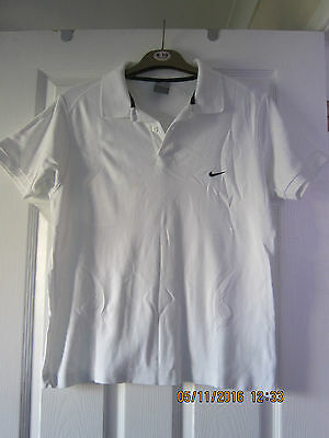 "Mens White Nike 100% Cotton Polo T-Shirt 42-44"" Chest  26"" Long"