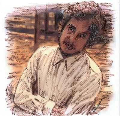 """""""BOB DYLAN """" by Ruth  Freeman INK ON WATER COLOR PAPER   8 1/2"""" X 8 1/4"""""""