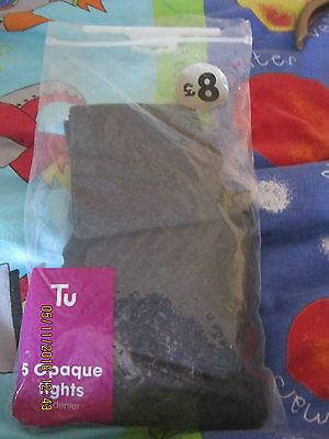 Girls 3 Pairs Grey Tights Tu Opaque 60 Denier 140-146Cm