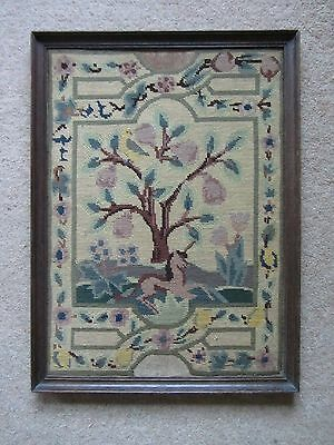 Antique Embroidered Tapestry Unicorn, pear tree. Arts & Crafts/Medieval style