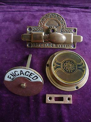 Superb Antique bronze Ashwells patent vacant engaged toilet lock complete