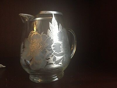 Antique Vintage Clear Glass Ice Lip Pitcher Silver Overlay Flower Design 7-1/2""