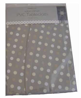 Country Club 150cm Grey Multi Spot Dot Round PVC Vinyl Tablecloth Table Cover