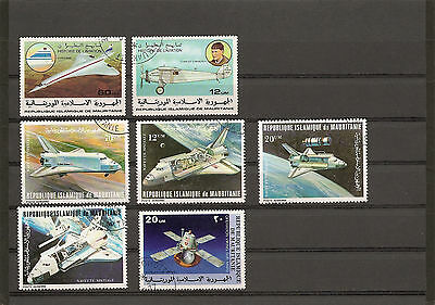 lot 7 timbres MAURITANIE: histoire aviation + navettes spatiales