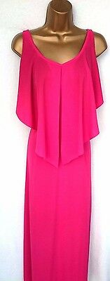 Vintage 80's Fuchsia Pink Strappy  Maxi Dress Capelet Stlye Top Size 10/12