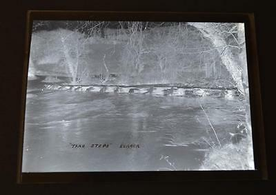Old Black and White Glass Negative Photo Plate Postcard Photo Tarr Steps Exmoor